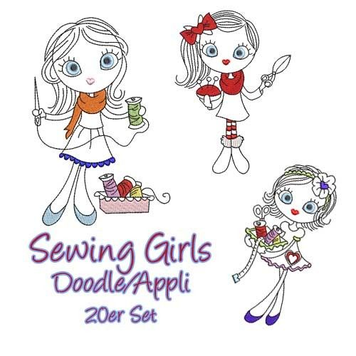 Sewing Girls Doodle / Appli Set